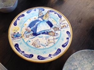 Handbemalte Tortenplatte, Keramik bemalen Eigenlob
