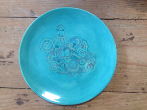Handbemalter Teller 30cm, Keramik bemalen Eigenlob