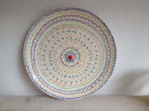 Bemalte Tortenplatte, Keramik bemalen Eigenlob