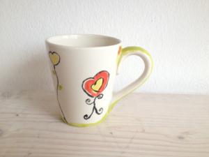 Bemalte Konische Tasse, Keramik bemalen Eigenlob