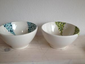 Bemalte Schalen Cafe au Lait, Keramik bemalen Eigenlob