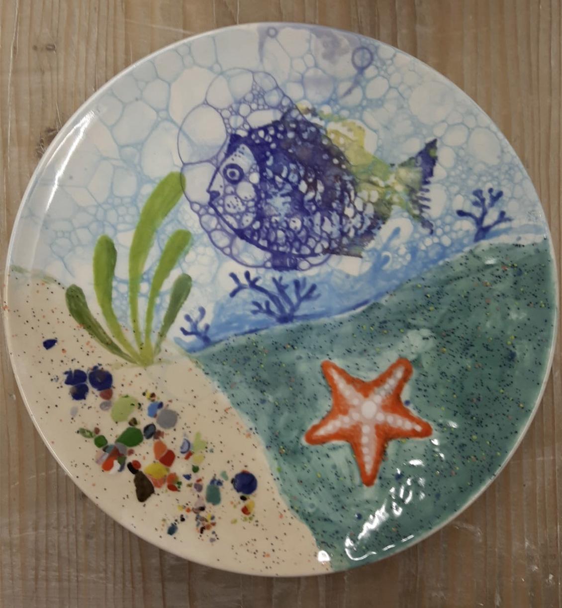 Keramik Teller Unterwasserwelt