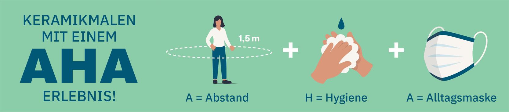 AHA Grafik Abstand halten Hygiene Alltagsmaske