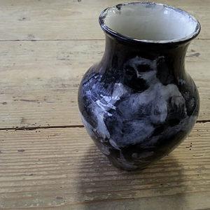 Handbemalte Vase, Keramik bemalen Eigenlob